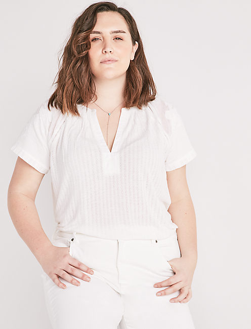CUTOUT DROP NEEDLE BLOUSE,