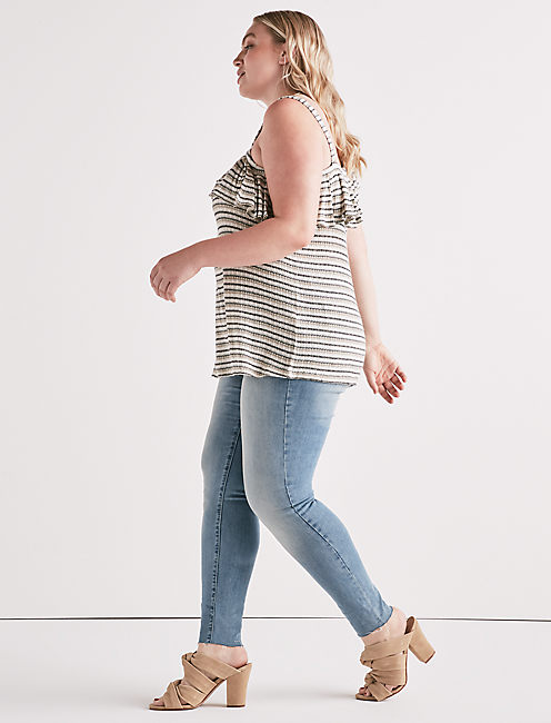 Lucky Stripe One Shoulder Top