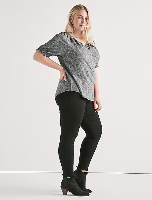 PUFF SLEEVE DOT HENLEY,