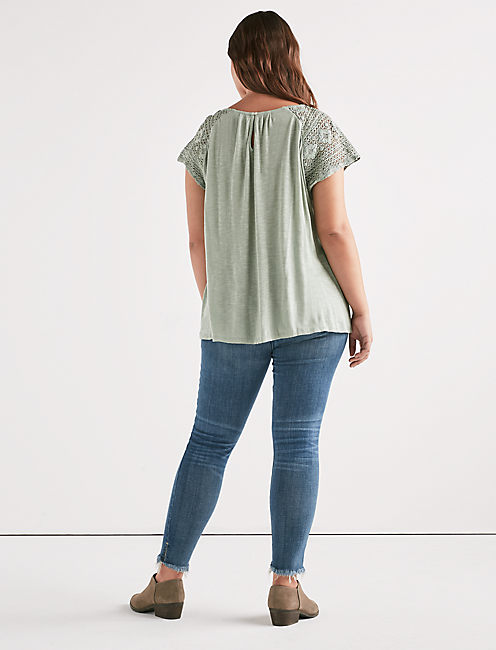 LACE SHORT SLEEVE TOP, ICEBERG GREEN