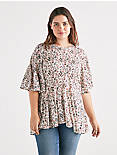 FLORAL FLUTTER SLEEVE TOP,