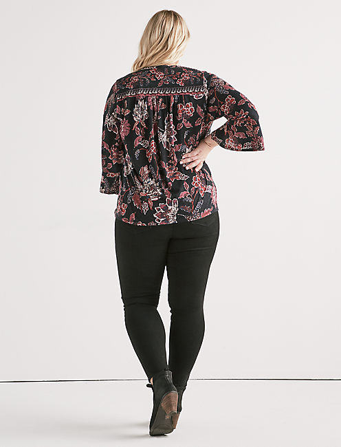 LONG SLEEVE FLORAL BORDER TOP,