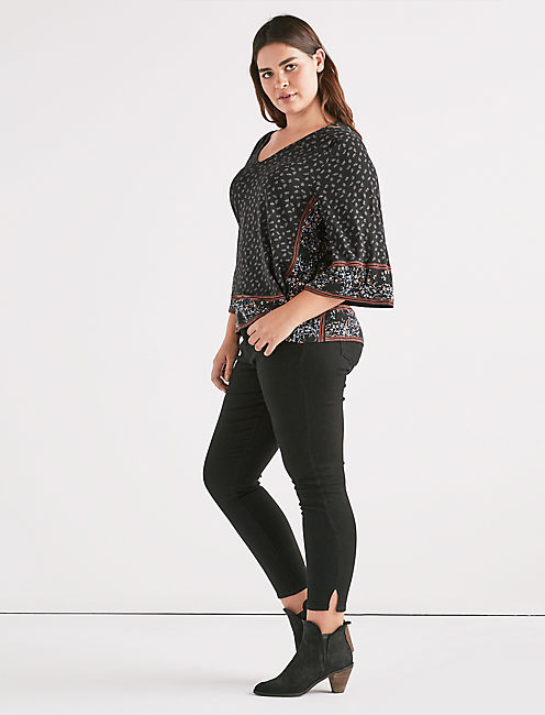 LONG SLEEVE MIXED PRINT TOP,