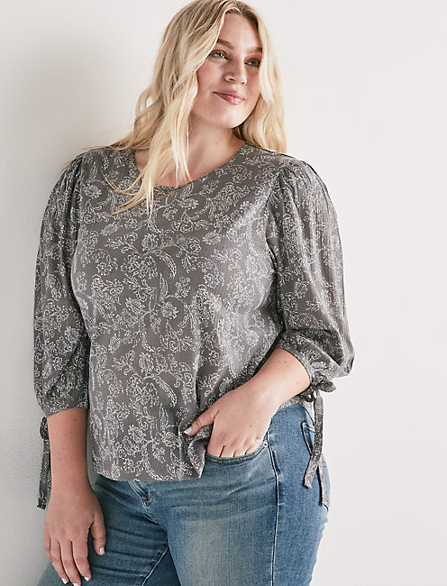 PAISLEY BALLON SLEEVE TOP,