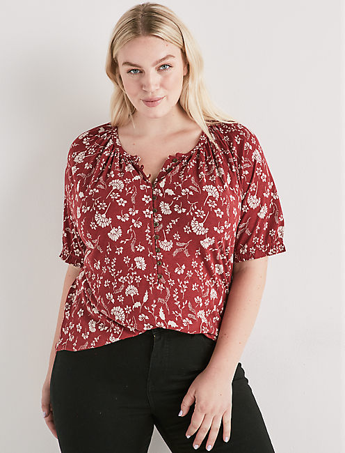 PRINTED PUFF SLEEVE TOP,