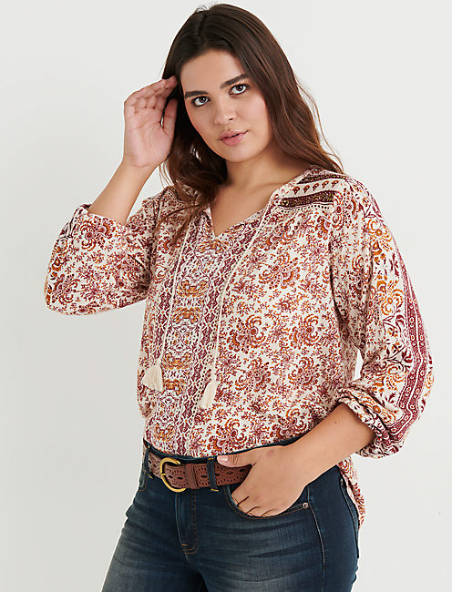 PRINTED PEASANT TOP WITH BEADING,
