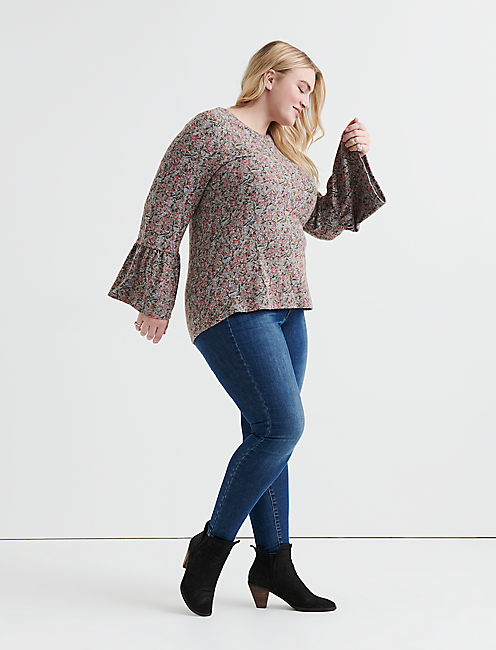 Lucky Floral Cloud Jersey Bell Sleeve Top