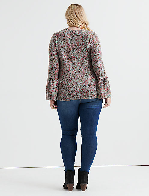 FLORAL CLOUD JERSEY BELL SLEEVE TOP,
