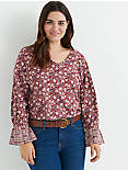 BORDER PRINT CINCHED SLEEVE TOP,