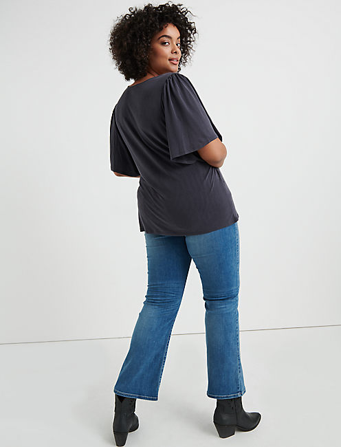 SOLID SAND WASH WRAP TOP,