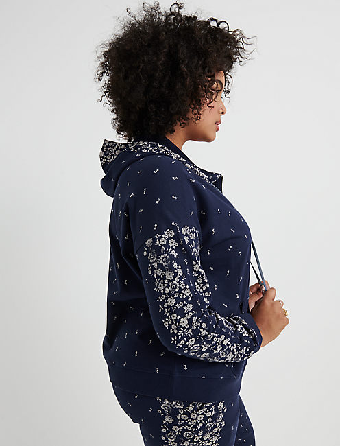 FLORAL PLACED HOODED ZIPUP, AMERICAN NAVY