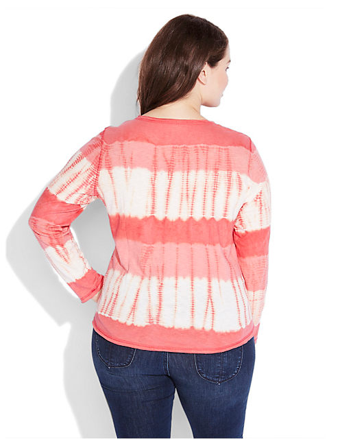 WATERCOLOR STRIPE HENLEY, #8361 POINSETTIA