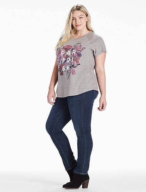 PARADISE FLOWERS TEE, CHARCOAL HEATHER