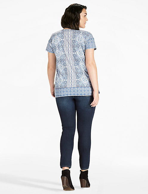 BAROQUE MOSAIC TEE, BLUE MULTI