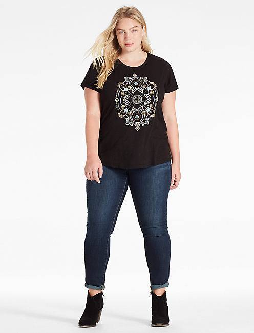 BEADED EMBROIDERED TEE,