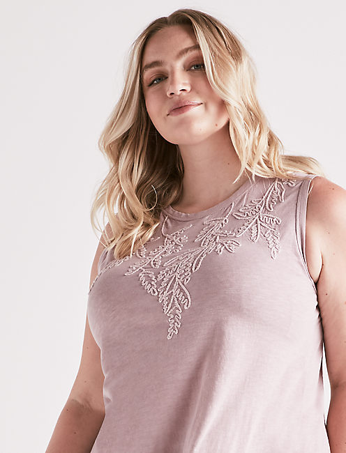 EMBROIDERED LEAF TANK, KEEPSAKE LILAC