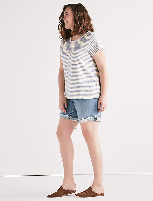 Lucky Stripe Lace Up Shoulder T