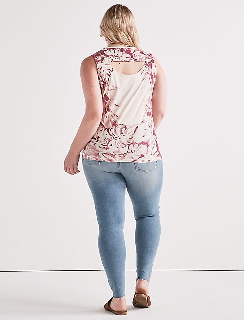 PRINTED FLORAL TANK, BERRY MULTI