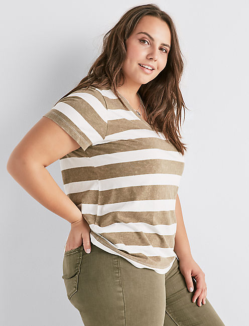 STRIPE V NECK TEE,