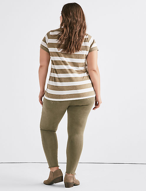 STRIPE V NECK TEE, OLIVE MULTI