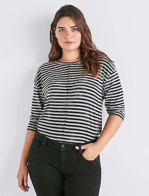 STRIPES 3/4 SLEEVE TEE, GREY MULTI