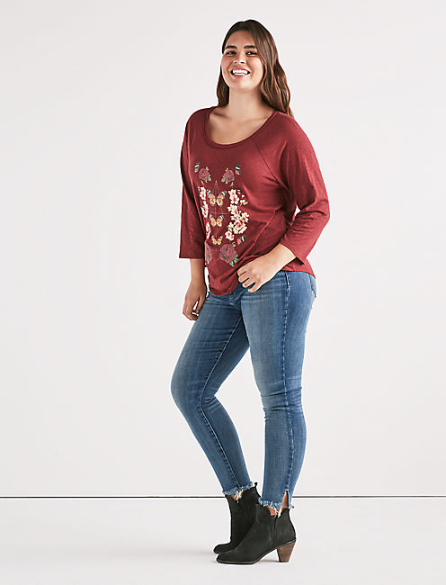BUTTERFLY FLORAL TEE,