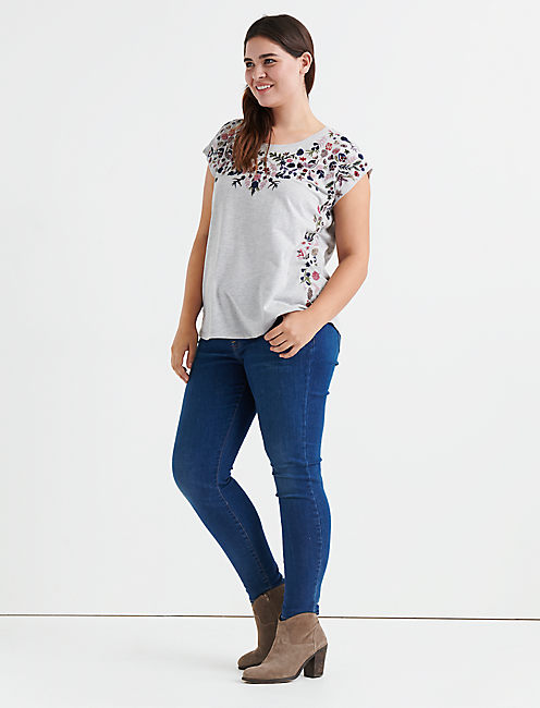 FLORAL GARDEN EMBROIDERED TEE,