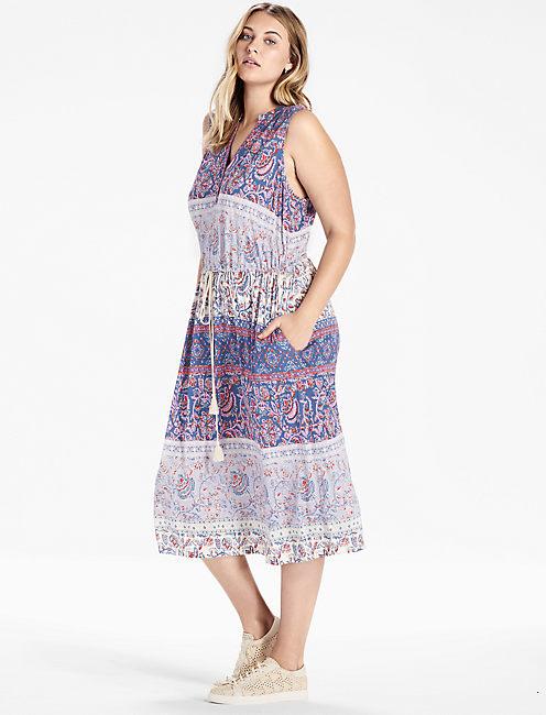 FLORAL MIXED PRINT DRESS,