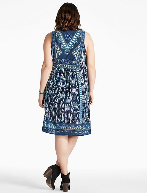 EMBROIDERED PRINTED DRESS,