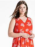 POP FLORAL DRESS, RED MULTI