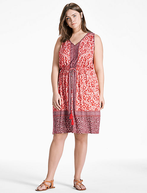 Lucky Border Print Midi Dress