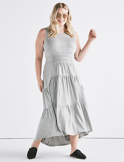 RUCHED MAXI DRESS, HEATHER GREY