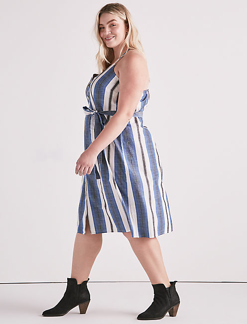 Lucky Stripe Button Front Dress
