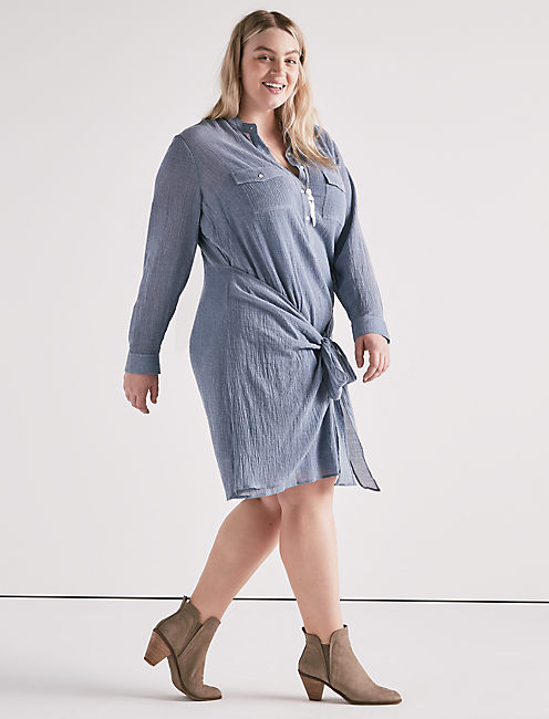 Lucky Chambray Tie Shirt Dress