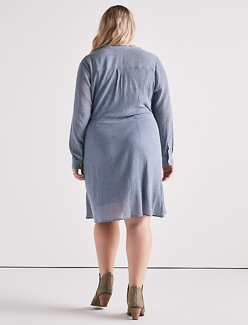 CHAMBRAY TIE SHIRT DRESS,