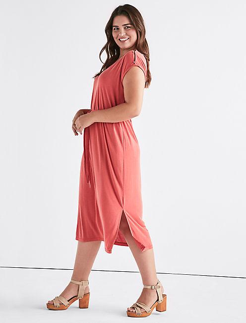 BUTTON SLEEVE SANDWASH DRESS, 636 RED