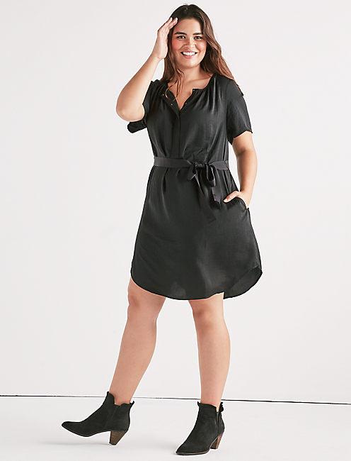 WASHED SATIN SHIFT DRESS,