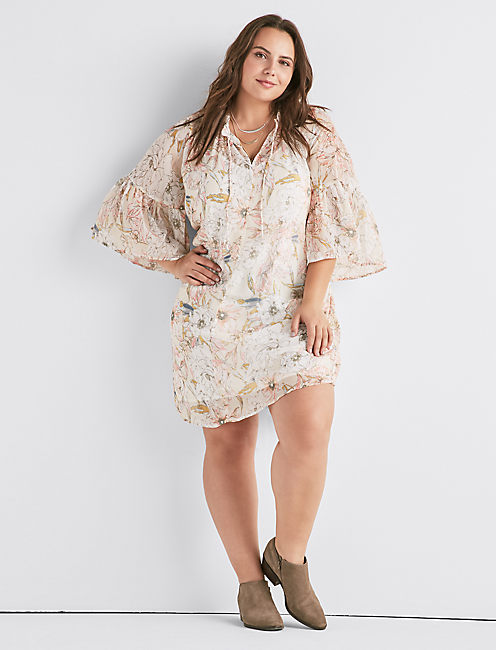 PRINTED BELL SLEEVE DRESS,