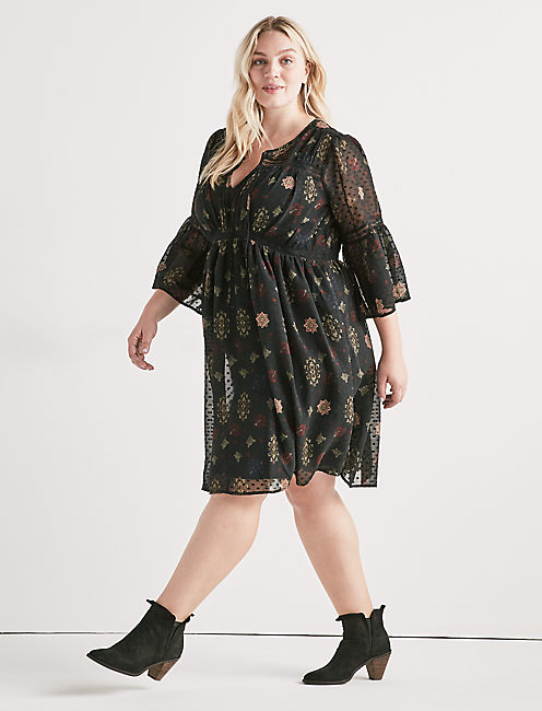 Lucky Swiss Dot Floral Dress