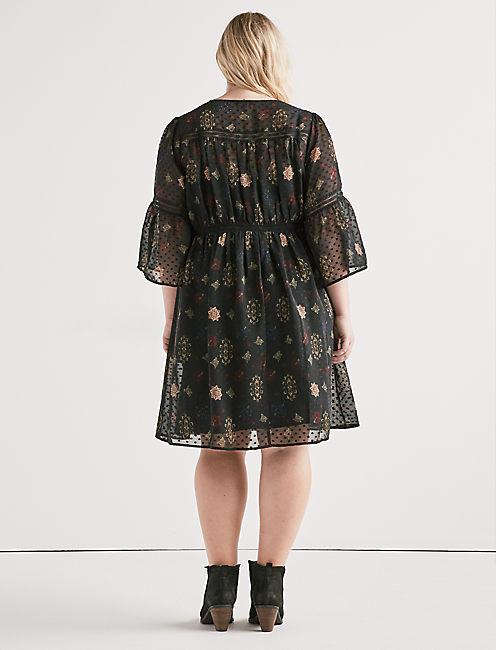 SWISS DOT FLORAL DRESS,