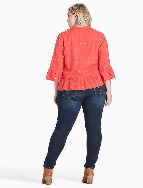 PINTUCK PEPLUM TOP, RED MULTI