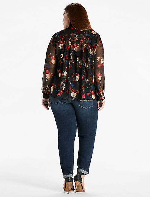 FLORAL KEYHOLE PEASANT TOP,