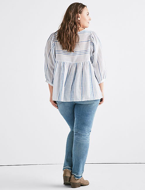 CINDY STRIPE PEASANT TOP, BLUE MULTI