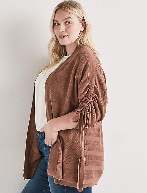 STRIPED CINCHED SLEEVE CARDIGAN,