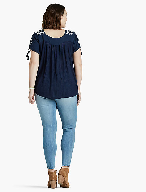 SHORT SLEEVE EMBROIDERED TOP,