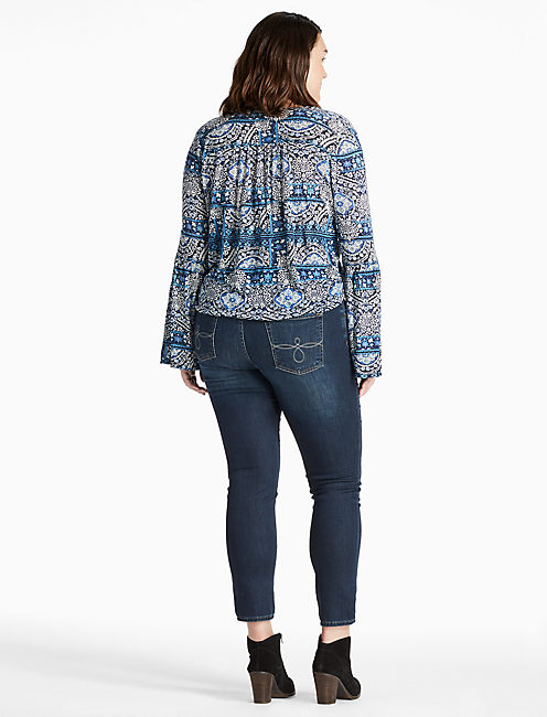 BELL SLEEVE PRINTED TOP, BLUE MULTI