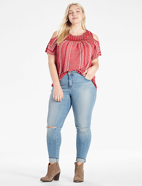 COLD SHOULDER CROCHET TOP, ROSE MULTI