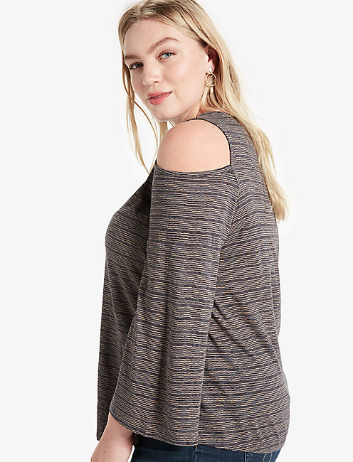 COLD SHOULDER FLUTTER TOP,