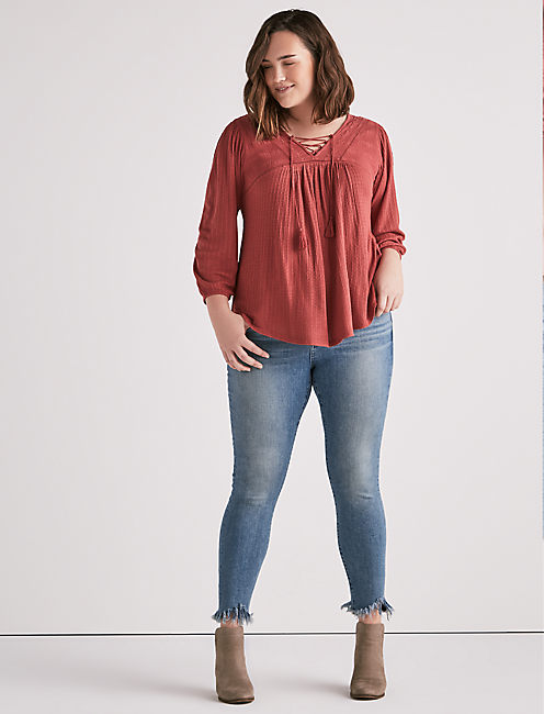 Lucky Drop Needle Lace Up Top