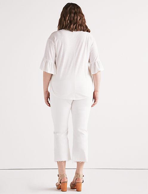 PINTUCK PEASANT TOP, LUCKY WHITE